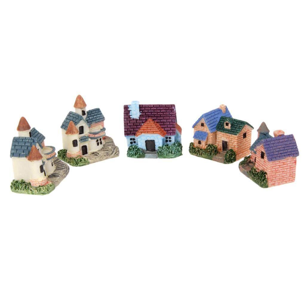 Blesiya 5Pcs Miniature Bonsai Craft Fairy Garden Landscape DIY European Villa Decor