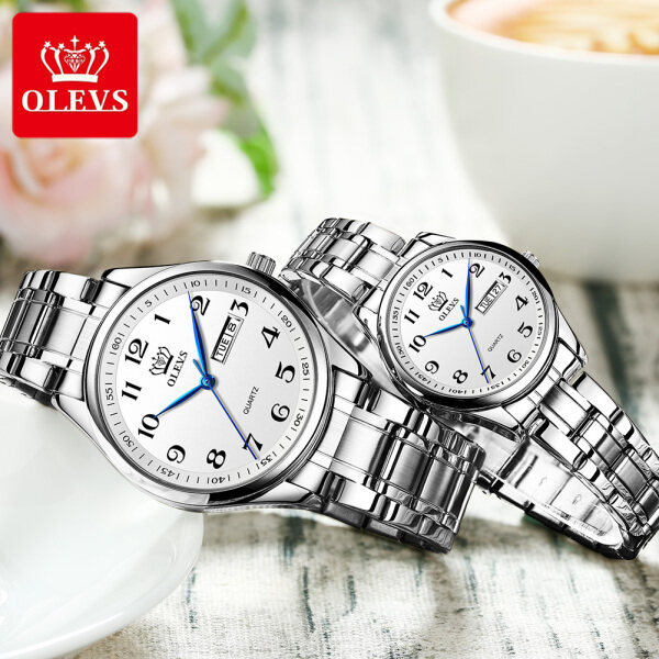 OLEVS Original authentic couple watch mens watch/ ladies watch Waterproof luxury noble atmosphere stainless steel strap Wear-resistant scratch-resistant luminous date Malaysia