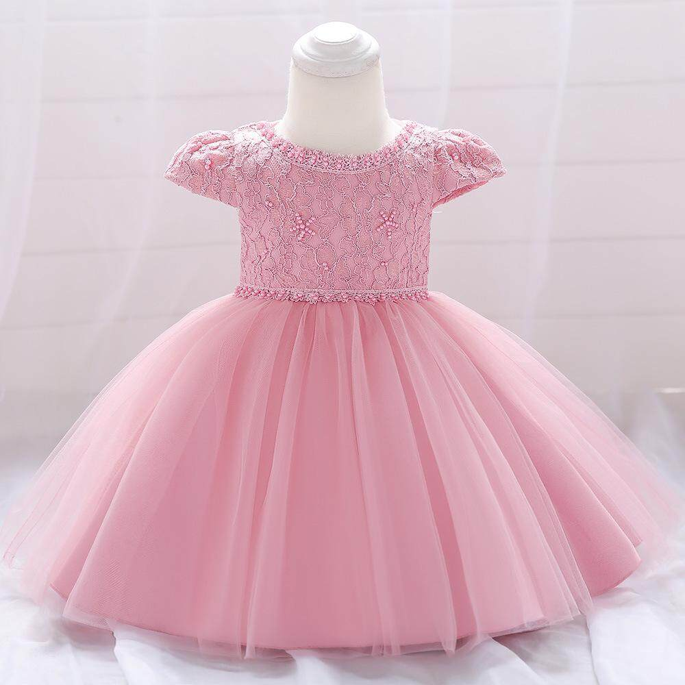 Baby Girl Dress 7-7M 7 Years Baby Girls Birthday Dresses for infant Lace  birthday party princess dress gown