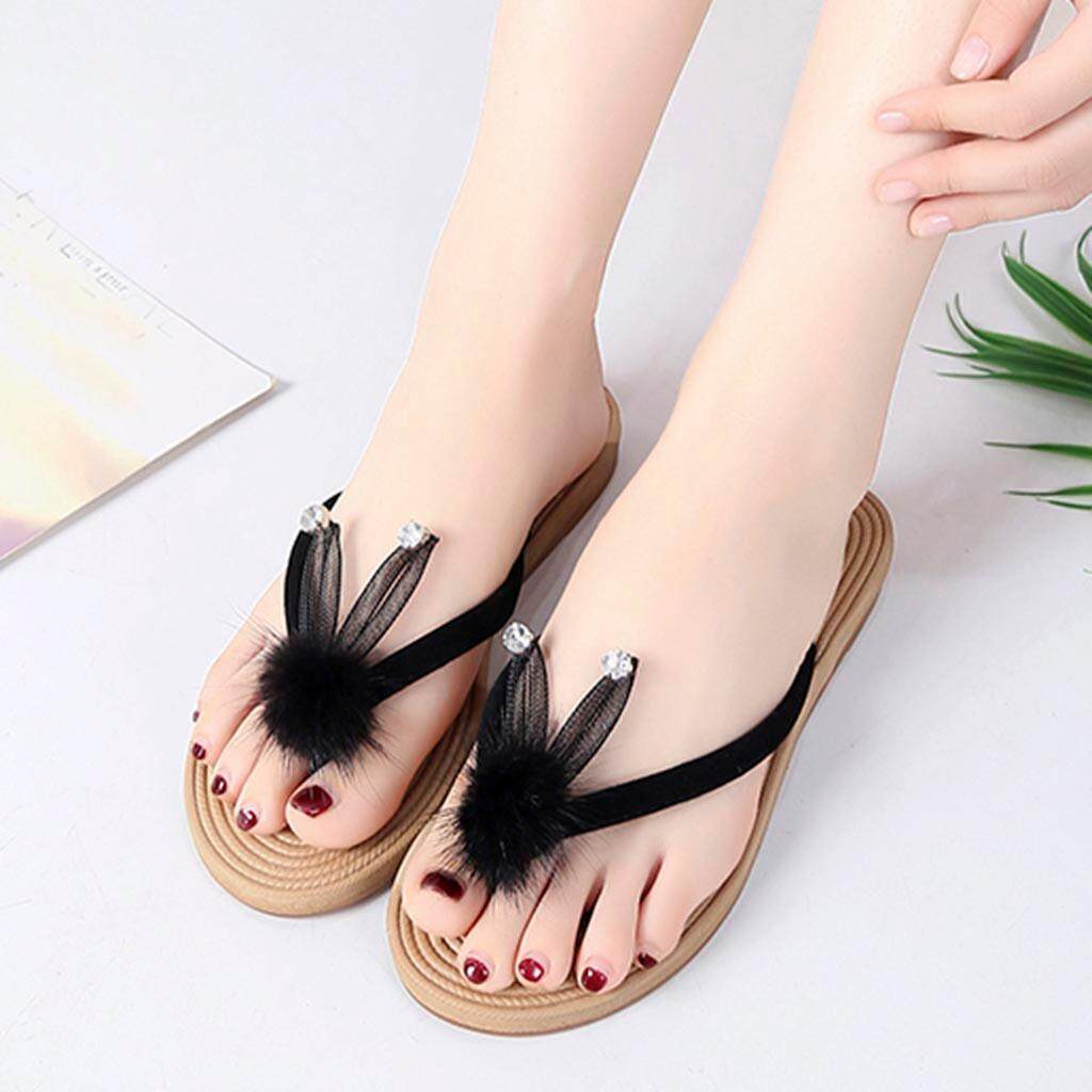 6b3da5b42bd656 GUO Women Ladies Summer Crystal Cartoon Flip Flops Slippers Beach Sandals  Shoes