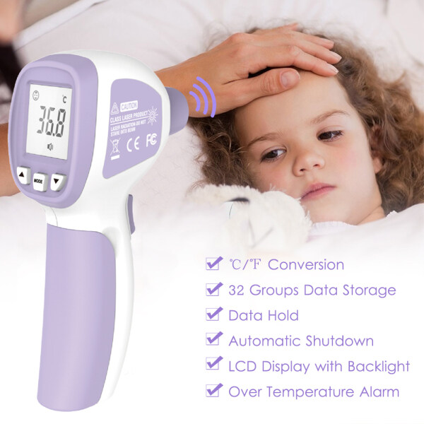 [High Quality & Fast Shipping]LCD Digital IR Thermometer Non-contact Infrared Forehead Thermometer Fever Thermometer Dual Mode Temperature Meter with Fever Alarm Data Storage