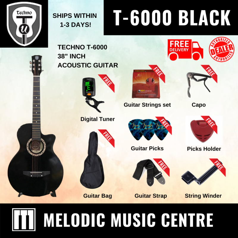 """【Local Ready Stock】Techno T-6000 38"""" Acoustic Guitar Cutaway (Black) Full Package Malaysia"""
