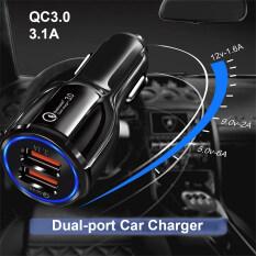 Củ sạc nhanh 2 cổng USB QC 3.0 5V/3.1A trên xe hơi tương thích với iPhone SE 2020/ iPhone 11 Pro Max/11 Pro/11/XS/ XR Samsung S20 Ultra/ S20/ S10 xiaomi Mi 10 Huawei P40 – INTL