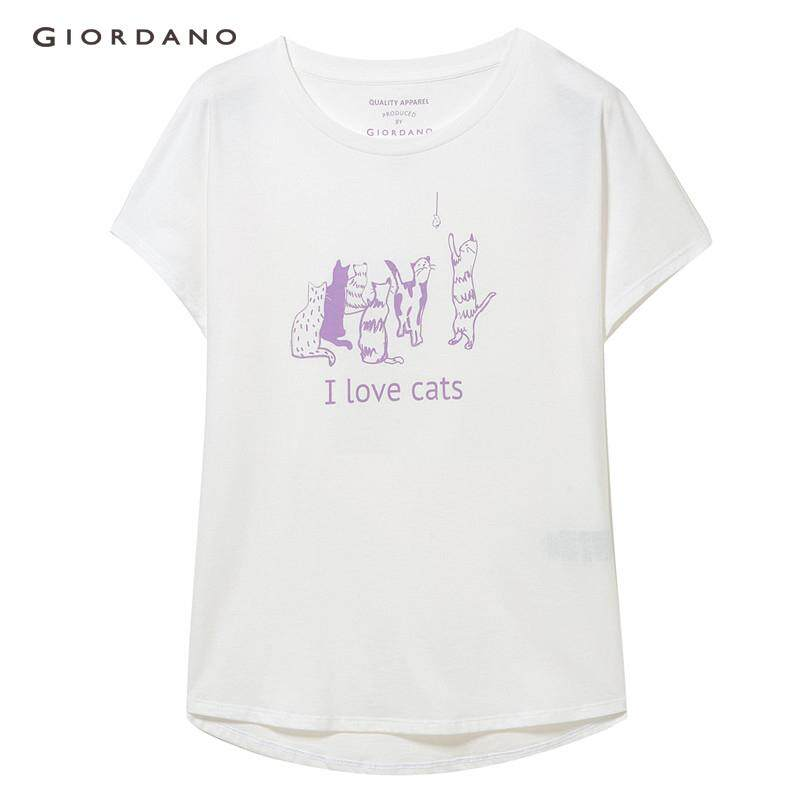 6d77aee8ceef3 Giordano Women T-Shirt Printed Animal Pattern Batwing Sleeve Tshirt Young Free  Shipping 05399215