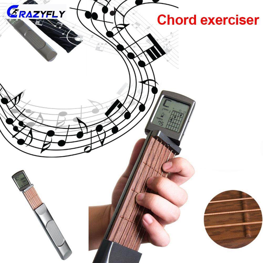 Crazyfly Simple Digital Handy Guitar Chord Trainer Mini 6 Fret Portable Practice Tool Rotatable Screen For Beginner By Crazyfly