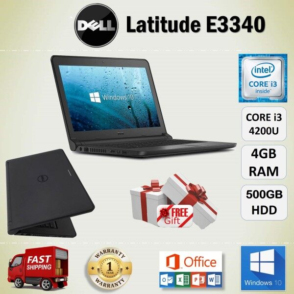 DELL LATITUDE E3340 CORE i3 4200U / 4 GB RAM / 500 GB HDD / 13.3 INCH SCREEN / WINDOWS 10 PRO / REFURBISHED NOTEBOOK / CORE i3 LAPTOP / 1 YEAR WARRANTY / FREE GIFT / LOW COST DELL LAPTOP Malaysia