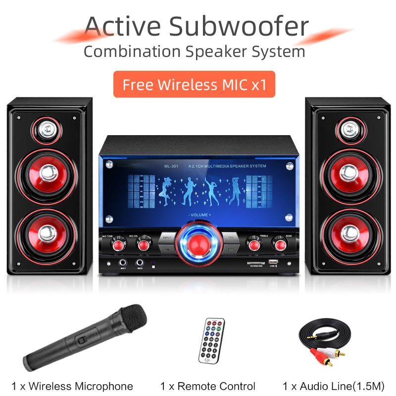 Active Subwoofer Multimedia 2 1 Stereo Sound Computer/TV Speakers System  For Gaming/Music/Movies/Microphone singing/Bluetooth/USB