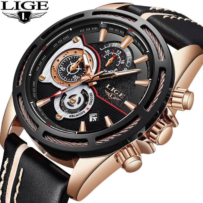 LIGE Men Watches Fashion Casual Luminous Waterproof Leather Analog Quartz Wristwatch Males Sports Clock Malaysia