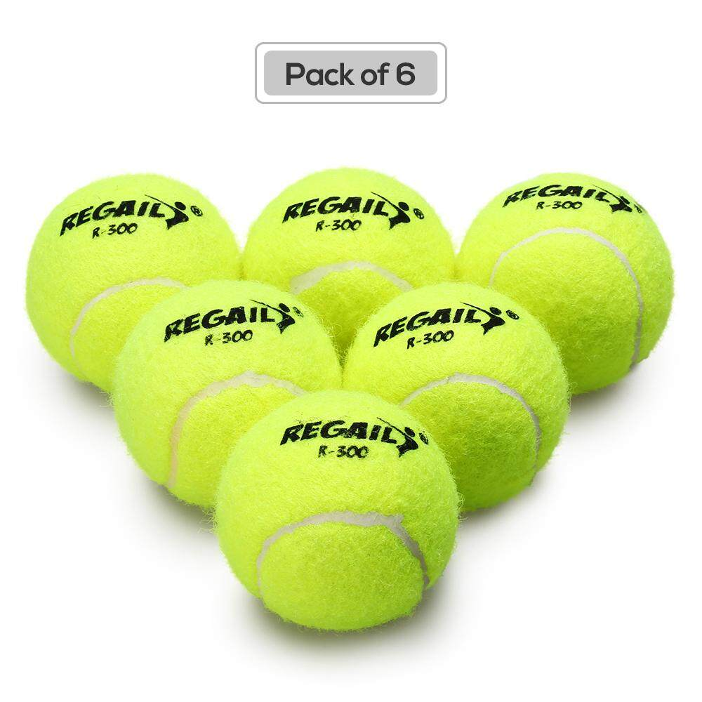 Pack Of 6 Pressureless Tennis Balls With Mesh Bag Rubber Bounce Training Practice Tennis Balls Pet Toy By Tomtop.