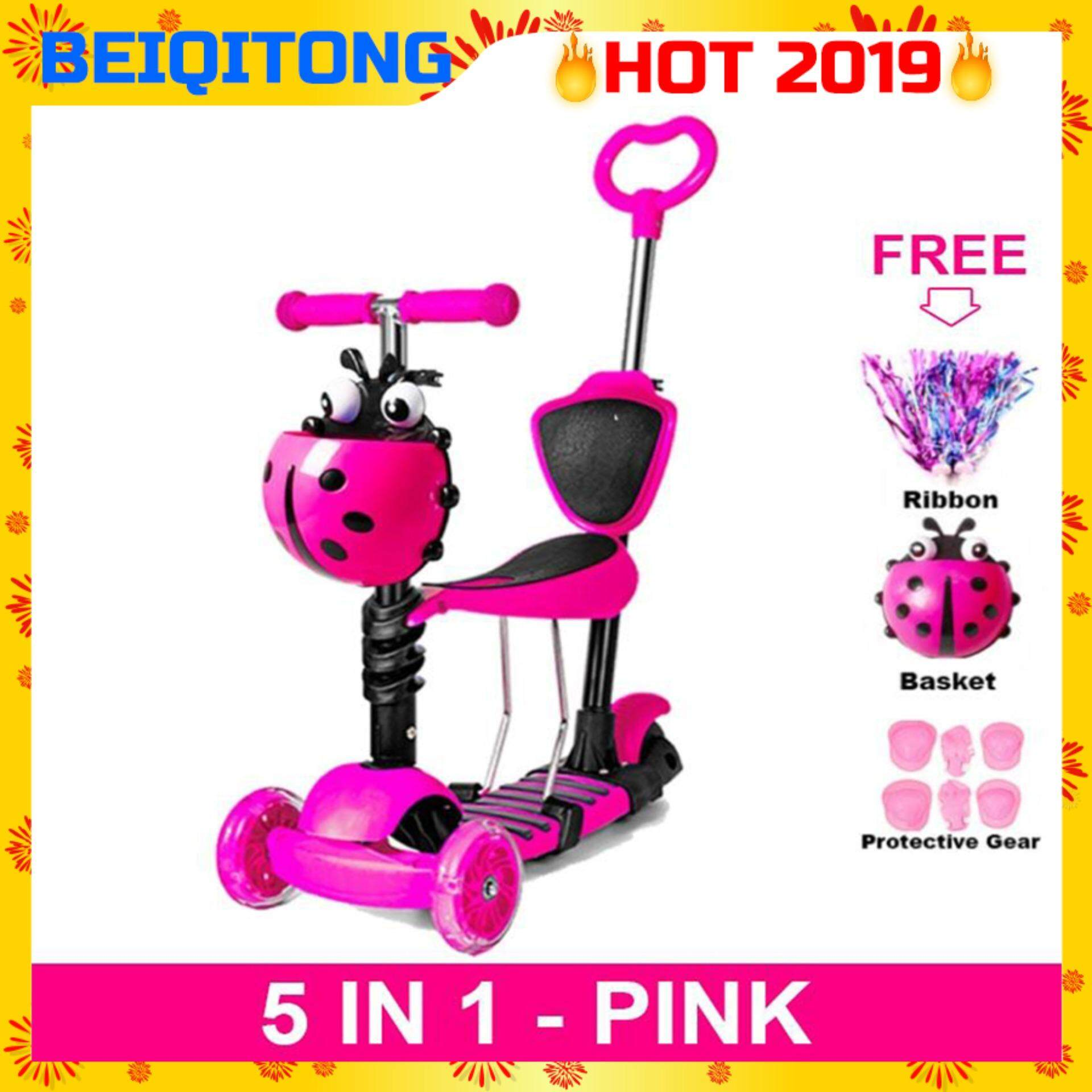 Beiqitong [nb107] Adjustable Seat 5 In 1 Kids Scooter Led Light Wheels Lady Bird Tricycle Scooter With Stroller Handle By Biosys.