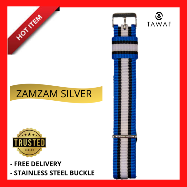[ORIGINAL] Universal Simple Striped Woven Nylon Washable Durable Watch Strap TAWAF Classic Zamzam Light Blue and White Quick Release 22mm Stainless Steel Buckle for Sport Casual and Formal wear Malaysia