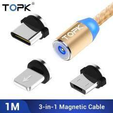 TOPK AM23 Từ Micro USB Cáp 8-pin USB C Cáp Sạc 3in1 cho iPhone XR XS Huawei P20 xiaomi 8 Redmi Samsung OPPO Vivo Nylon Bện Cáp Micro