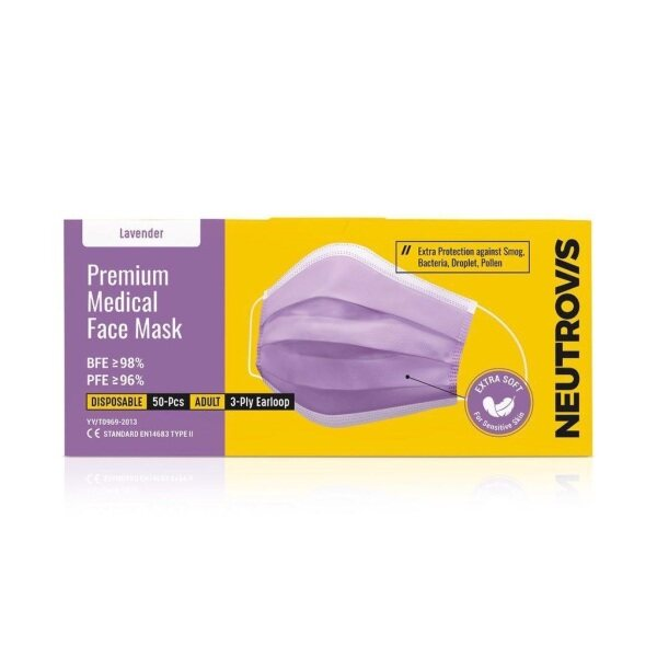 Neutrovis PREMIUM Medical Face Mask 3ply 50s Lavender Purple