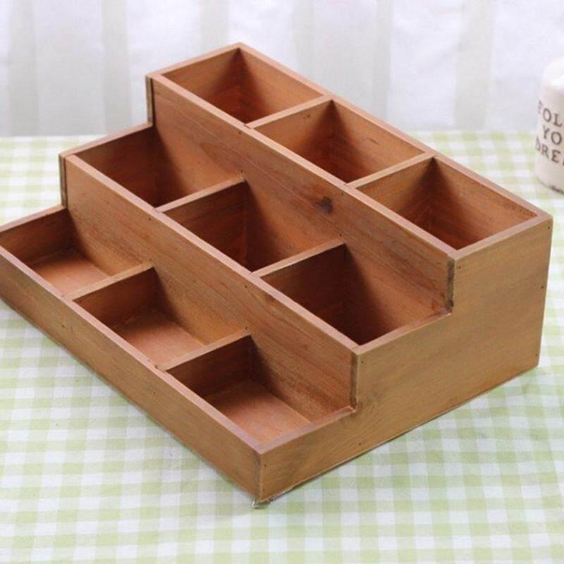 LALOVE Fashion Nine Lattices Trapezium Small Size Practical Wood Display Cabinet