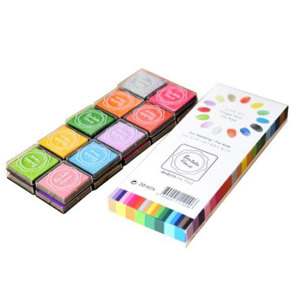 Perfk 20 Colours Water-soluble Stamp Ink Pads Kids Classroom Printing Card Making