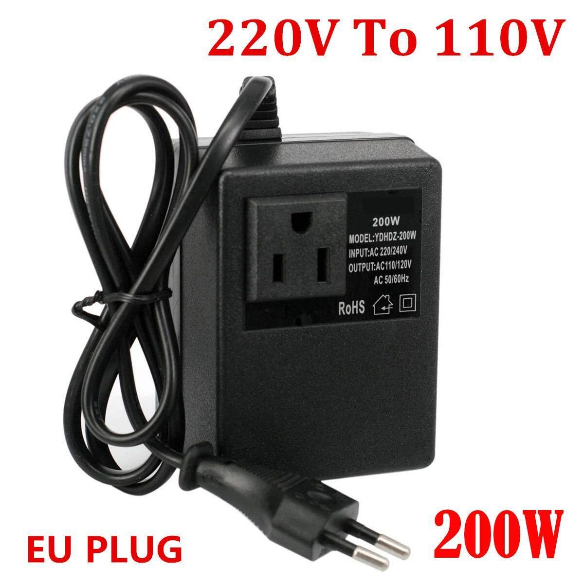 200W EU Plug Compact Voltage Converter Transformer 220V To 110V Step Down  Travel
