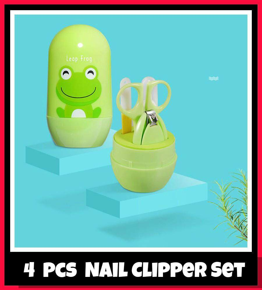 4PCS Set Baby Nail Clipper Set Baby Safety Care Infant Nail Trimmer Scissors Nail Clippers Cartoon Animal Storage Box For Travel