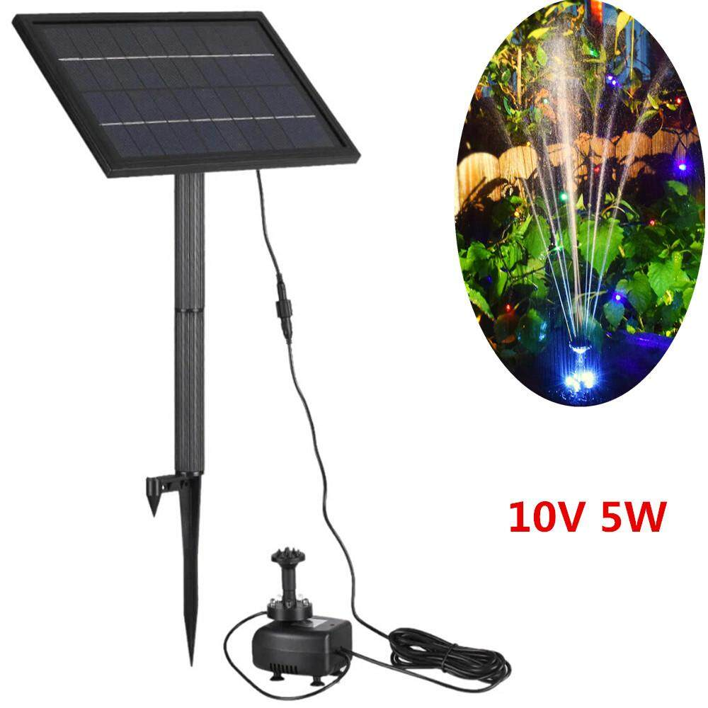 RD 10V 5W Solar Fountain with LED Light Yard Decoration