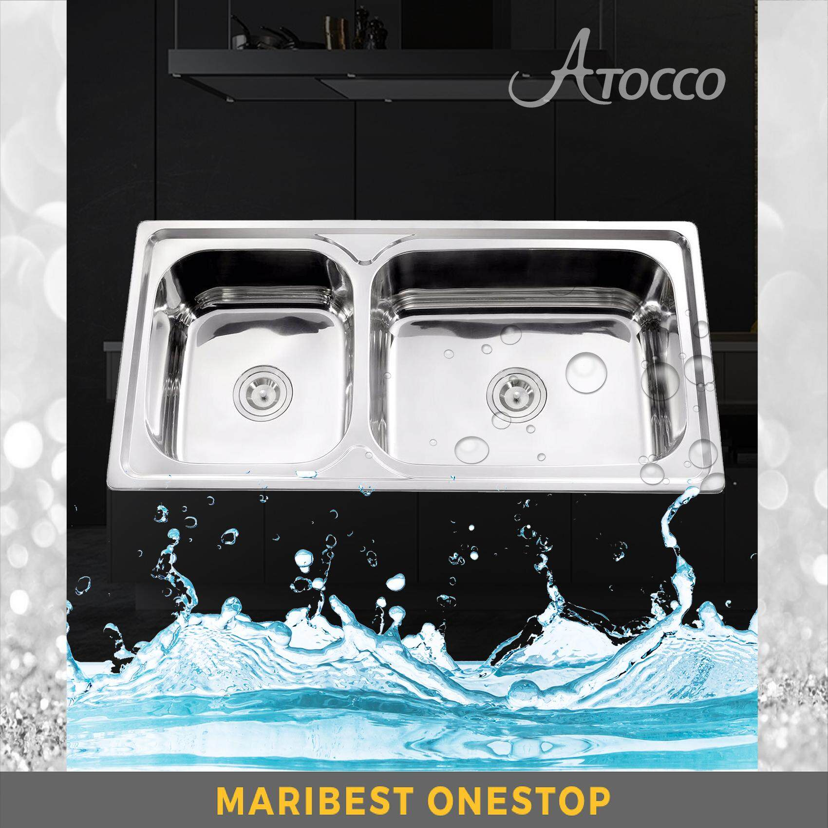 AT-10050DF STAINLESS STEEL DEFECTIVE DOUBLE BOWL SINK