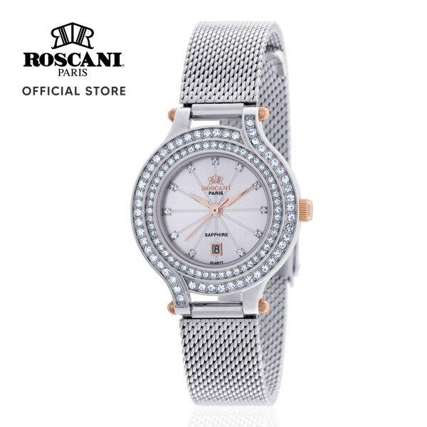 Roscani Colette E91 (Sapphire Crystal + Gemstone Bezel) Rose Gold Black Mesh Women Watch Malaysia
