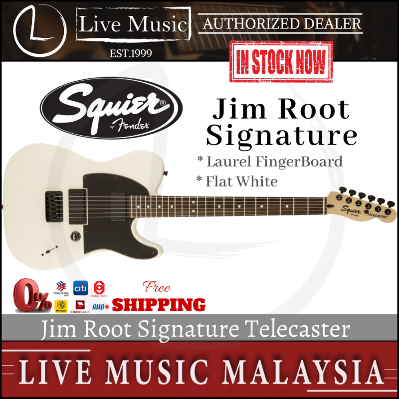 Squier Jim Root Signature Telecaster Electric Guitar, Rosewood Fretboard - Flat White Malaysia