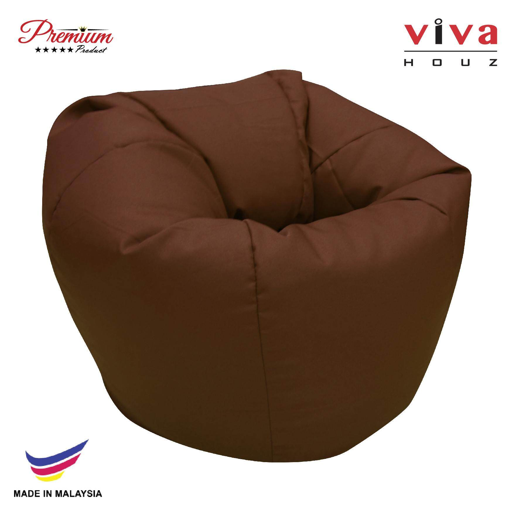 Hot Selling : Perfect Bean Bag Sofa Pouffe Chair L Size Dark Brown Made In Malaysia By Viva Living.