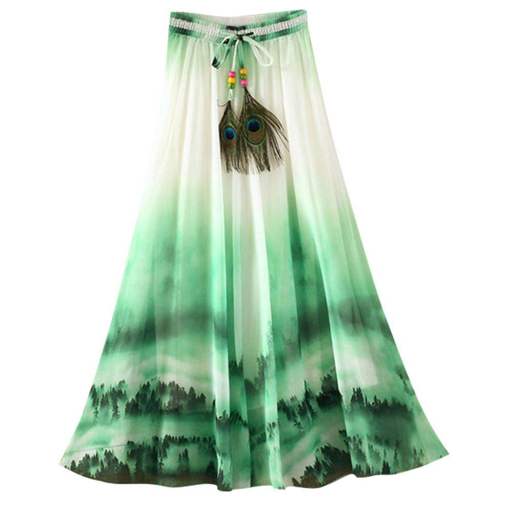 Hoa Bohemia Maxi Voan Dài Váy Lưng Thun Bãi Biển Mùa Hè Áo Giá Ưu Đãi Nhất