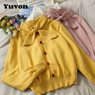 Áo Kiểu Yuvon Màu Mới, Dài Tay, Cổ Vuông, Nơ Nữ Nhún Bèo, Phối Áo Hở Eo thumbnail