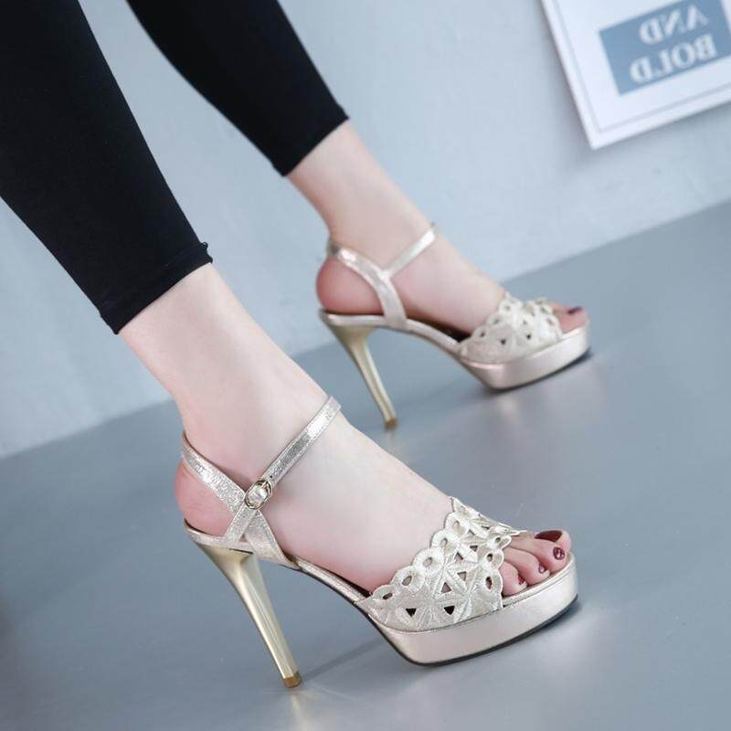 Women Platform Pums Sandals High Heels Pointed Toe Fish Mouth Shoes Summer Shoes
