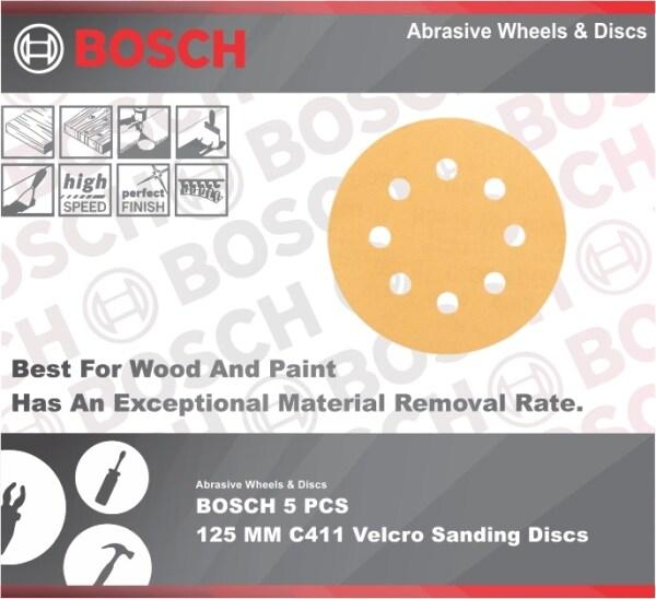 BOSCH 5 PCS  125 MM C411 Velcro Sanding Discs