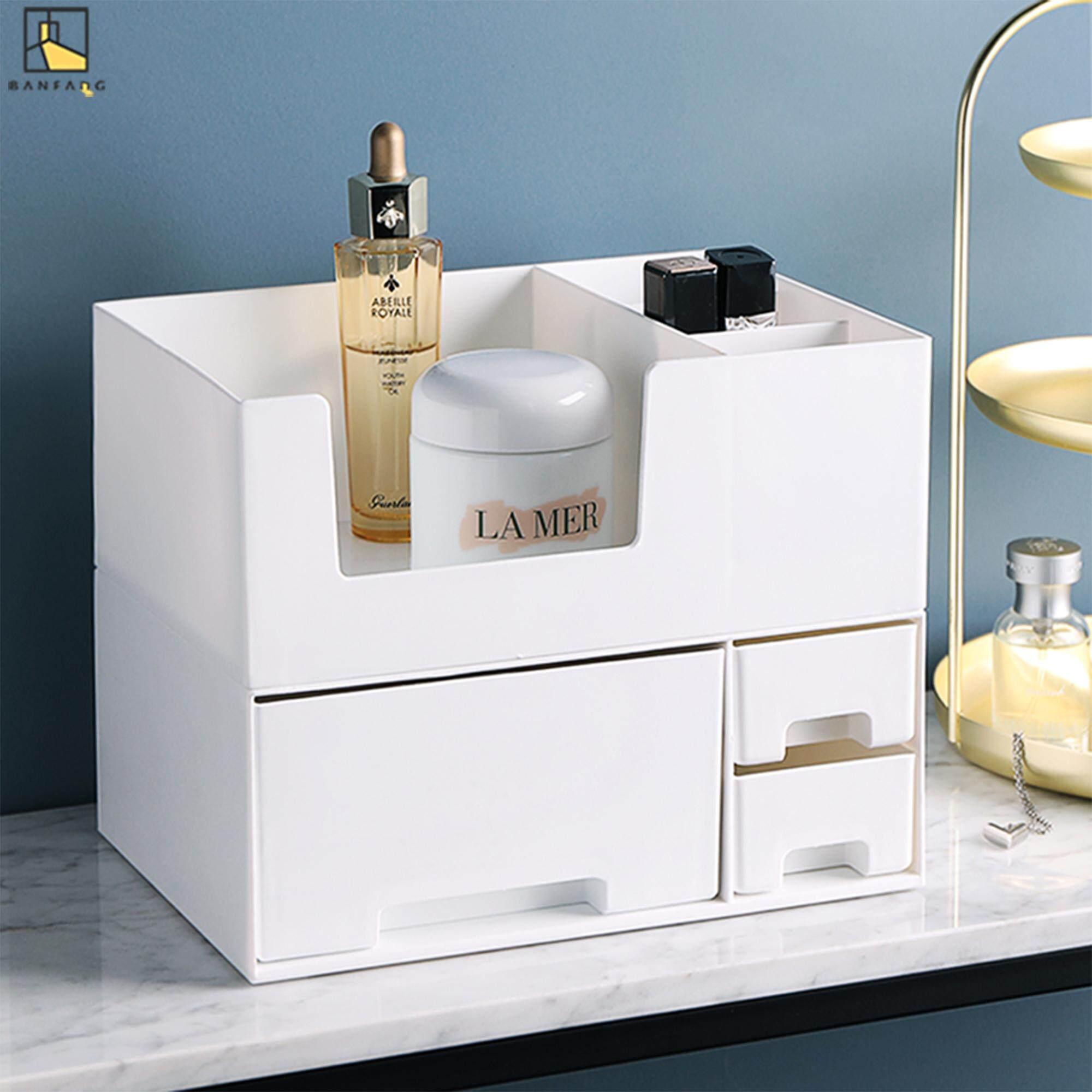 BANFANG Pp plastic cosmetic storage box lipstick jewelry storage box multi-functional desktop double drawer storage box