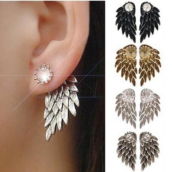 New Hot Sale Fashion Gothic Women's Cool Jewelry Angel Wings Rhinestone Alloy Drop Stud Earrings Ear