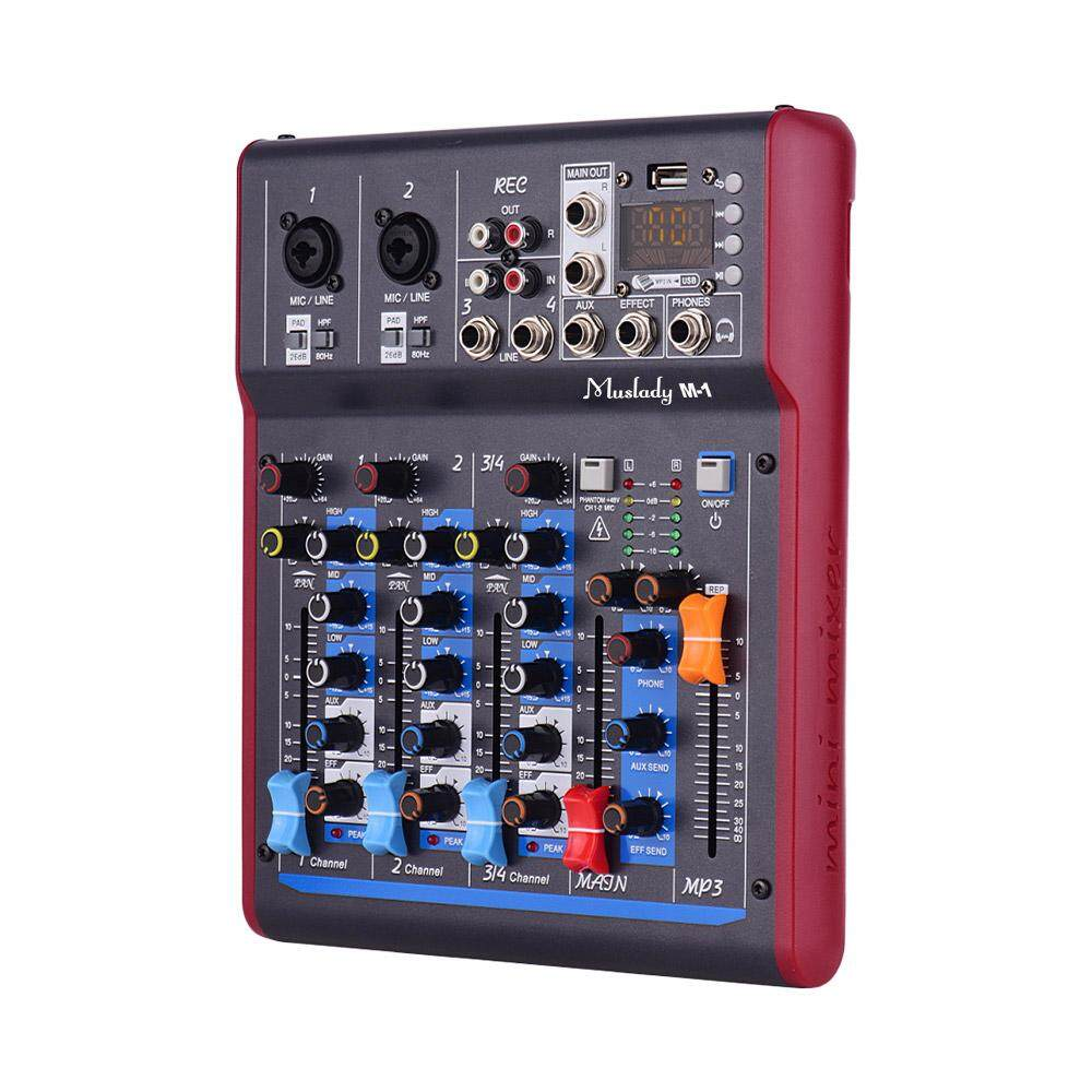 Muslady M-1 Professional 4 Channel Digital Mixer Mixing Console Built-in 48V   Phantom Power with Reverberation Effects BT Function for Studio Recording   Broadcasting DJ Network Live