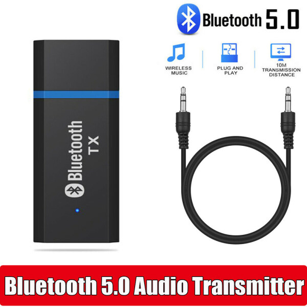 Beanie Bluetooth Transmitter Audio Adapter BT5.0 for PC TV Headset 3.5 mm Jack AUX USB Stereo Music Wireless Adapter Plug and Play for Headset Speakers[Ready Stock]