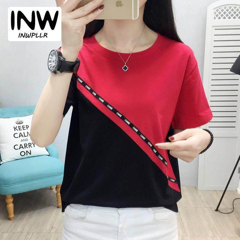 8f62f925bfe INWPLLR Women s Fashion Tshirt Plus Size Women T-shirt Korean Short Sleeve  Patchwork T-