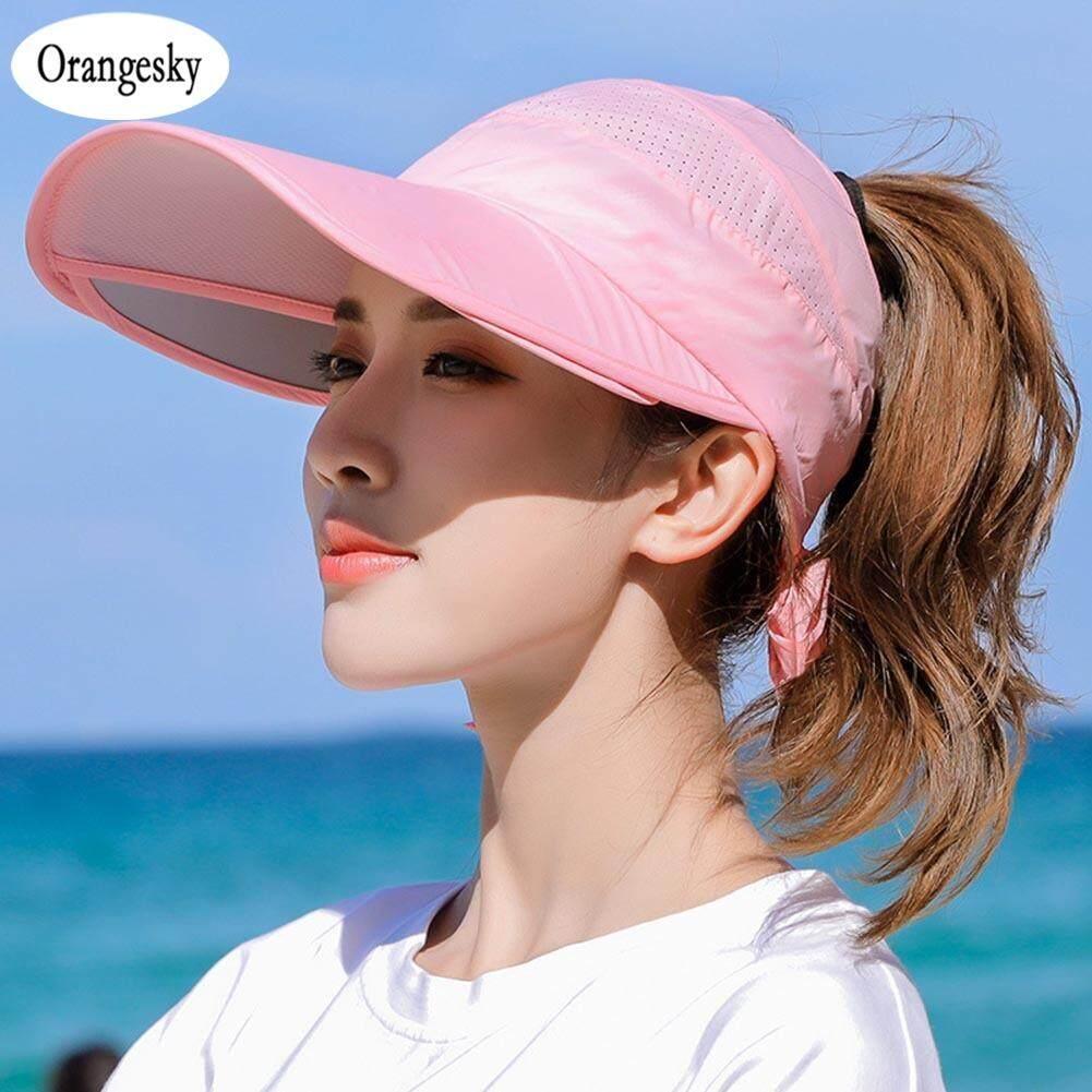 e40a12db Orangesky Retractable Women Sun Visor Summer Sun Hat Unisex UV Hat Cap  Beach Headwear