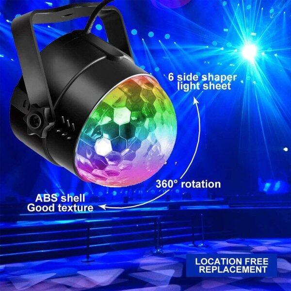 ♥Miễn Phí Vận Chuyển, Đèn Tiệc DJ Bóng Disco Xoay Kích Hoạt Âm Thanh Đèn LED Sân Khấu RGB Đèn Tiệc Âm Thanh Giáng Sinh Đám Cưới