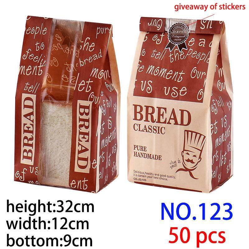 (No 123 50 Pcs) Jendela Di Tengah Seri Film Roti Toast Tas Kemas, Kertas Kerajinan Makanan Tas Roti Bakar Tas hadiah Stiker, Lapisan Plastik Di Lapisan Dalam