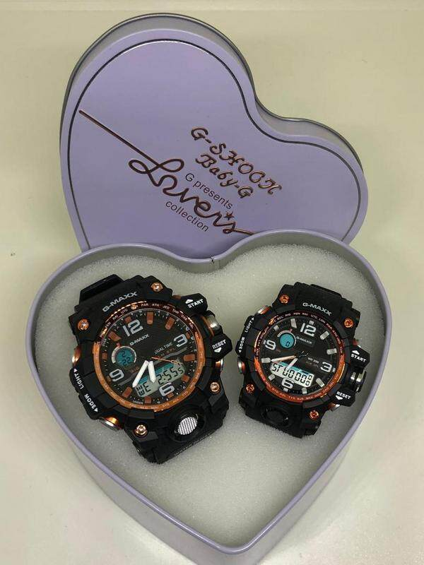 G-MAXX COUPLE WATCHES SET (ORANGE BLACK) Malaysia