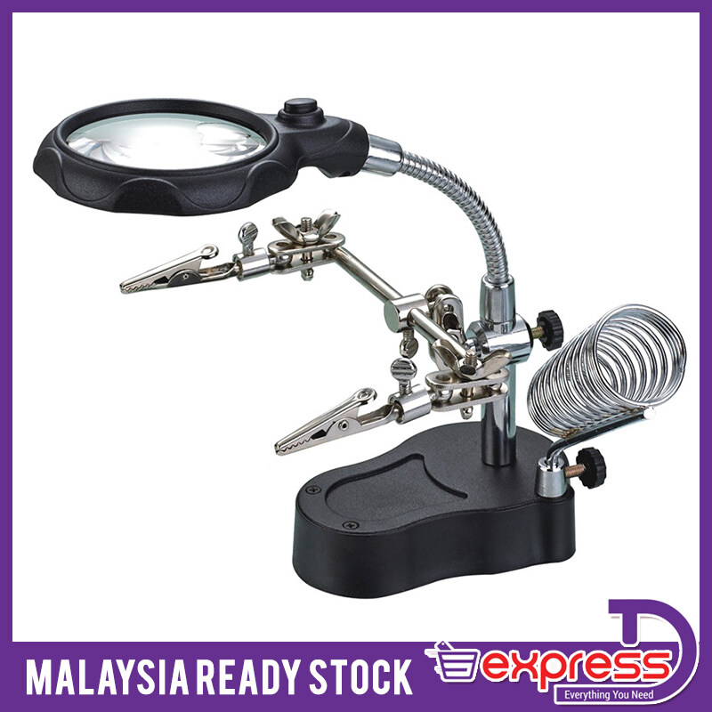 MG16126-A 4X / 12X Portable Magnifier w/ 2-LED White Light / Soldering Stand - Black