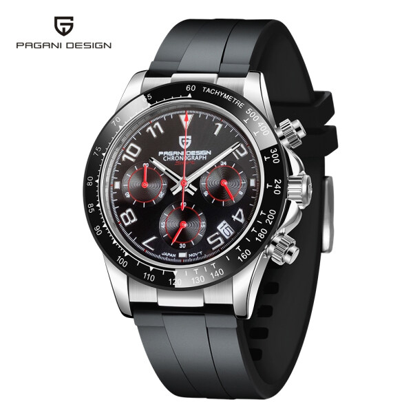PAGANI DESIGN Japan VK63 Movement Men Watch 40mm Dial Sapphire Crystal Glass Watch Glass Watch For Men Rubber Strap 100M Waterproof Mens Watches Malaysia