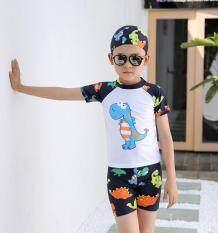 Bộ Đồ Bơi 3 Món Cho Bé Trai, Đồ Bơi Trẻ Em Mùa Hè In Họa Tiết, Đồ Tắm Biển Mặc Đi Biển (Có Mũ + Áo + Ngắn)
