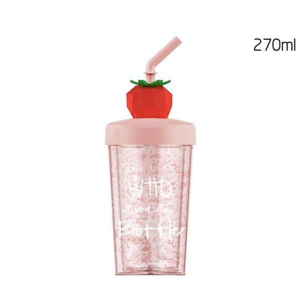 270ml Cup Lemon Juice Baby Girl Straw Water Bottle Cup Kids Drinking Cups with Lid Cup