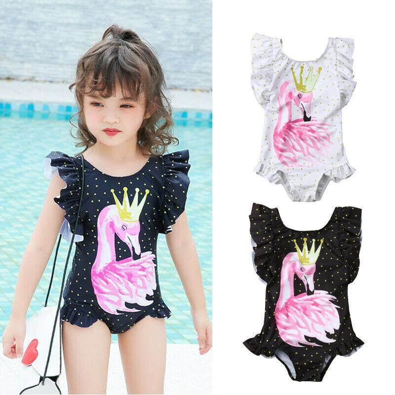 f043dd575c Newborn Kid Baby Girl Flamingo Print Bikini Swimwear Swimsuit Bathing Suit  Beach