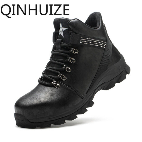 QINHUIZE High-top safety shoes, mens foot protection steel-toed shoes, lightweight waterproof wear-resistant safety protection work boots