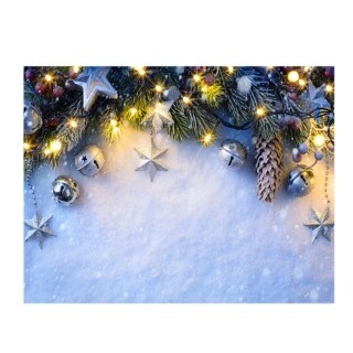 7X5Ft Christmas Photography Background Winter Christmas Bell Christmas White Photo Studio Background Cloth thumbnail
