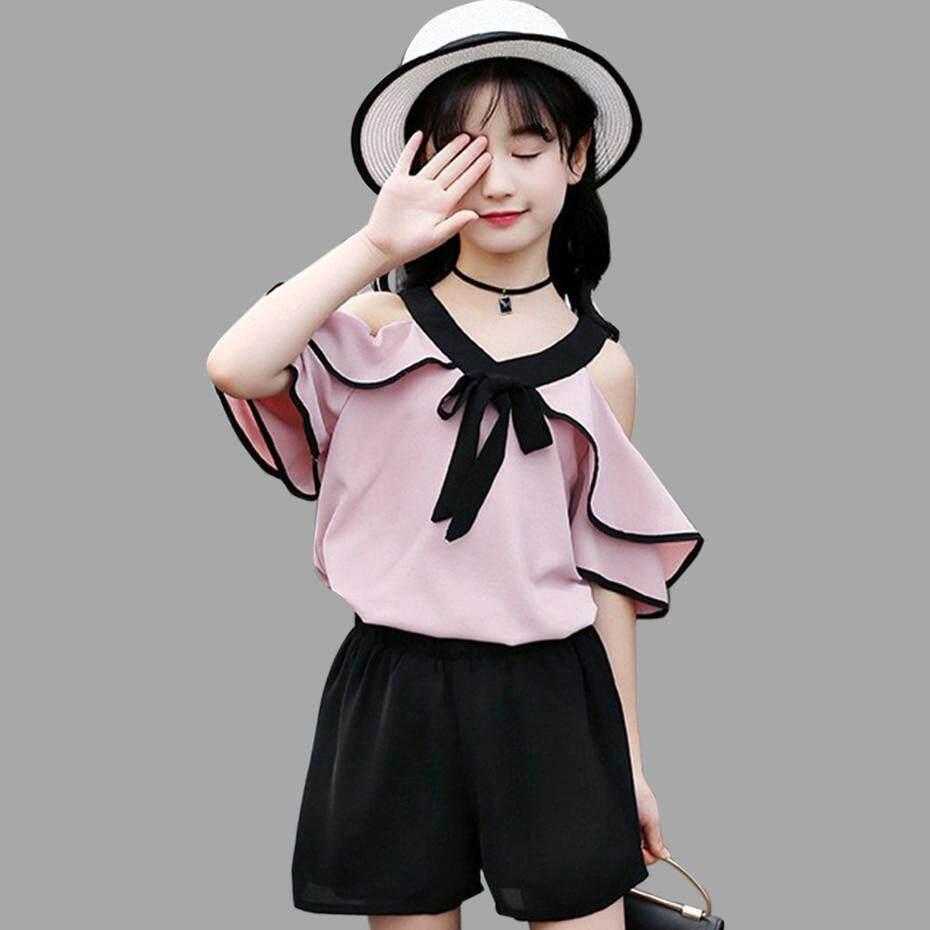 682bcd23c7f0b Summer Children's Clothing Chiffon Off Shoulder Girls Top+Pants Fashion  Girls Clothes Set Teenage Girls Clothing 4 6 8 12 Years