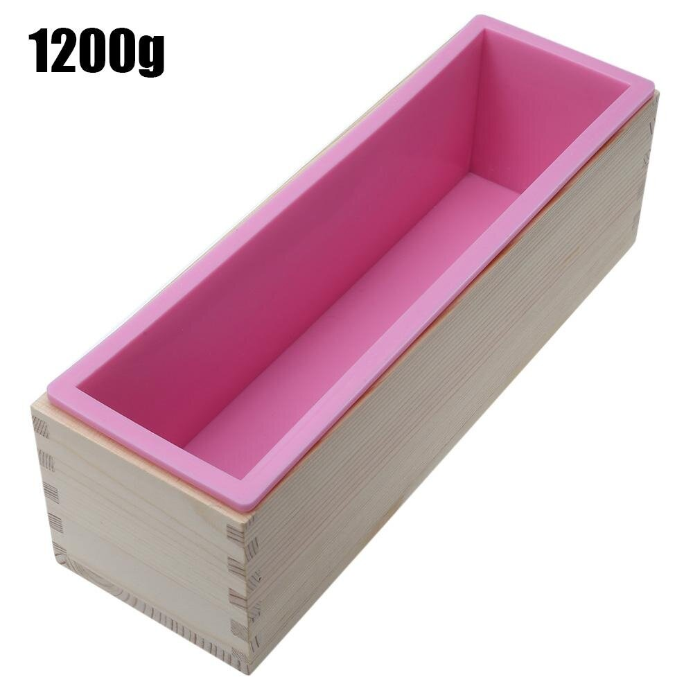 1200g Silicone Soap Loaf Mold Wooden Box DIY Making Tool (Blue/Pink/Purple
