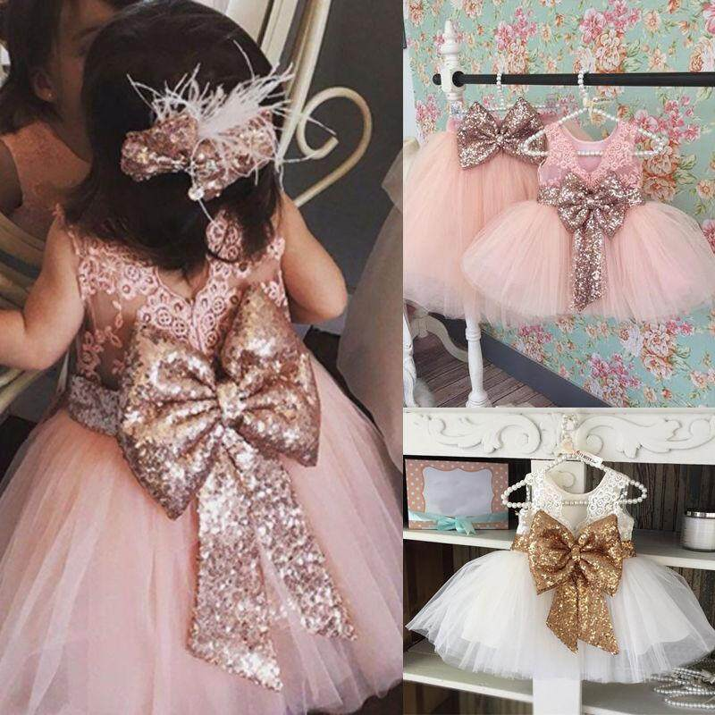 167a1109ea Kids Baby Flower Girls Bow Sequins Tulle Tutu Dress Princess Party Wedding  Gown