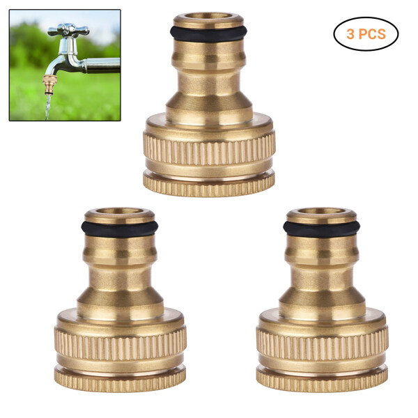3 Pcs Brass Hose Tap Connector 1/ 2 Inch 3/ 4 Inch Garden Water Hose Adapter Thread Pipe Tap Faucet Connector Adapter